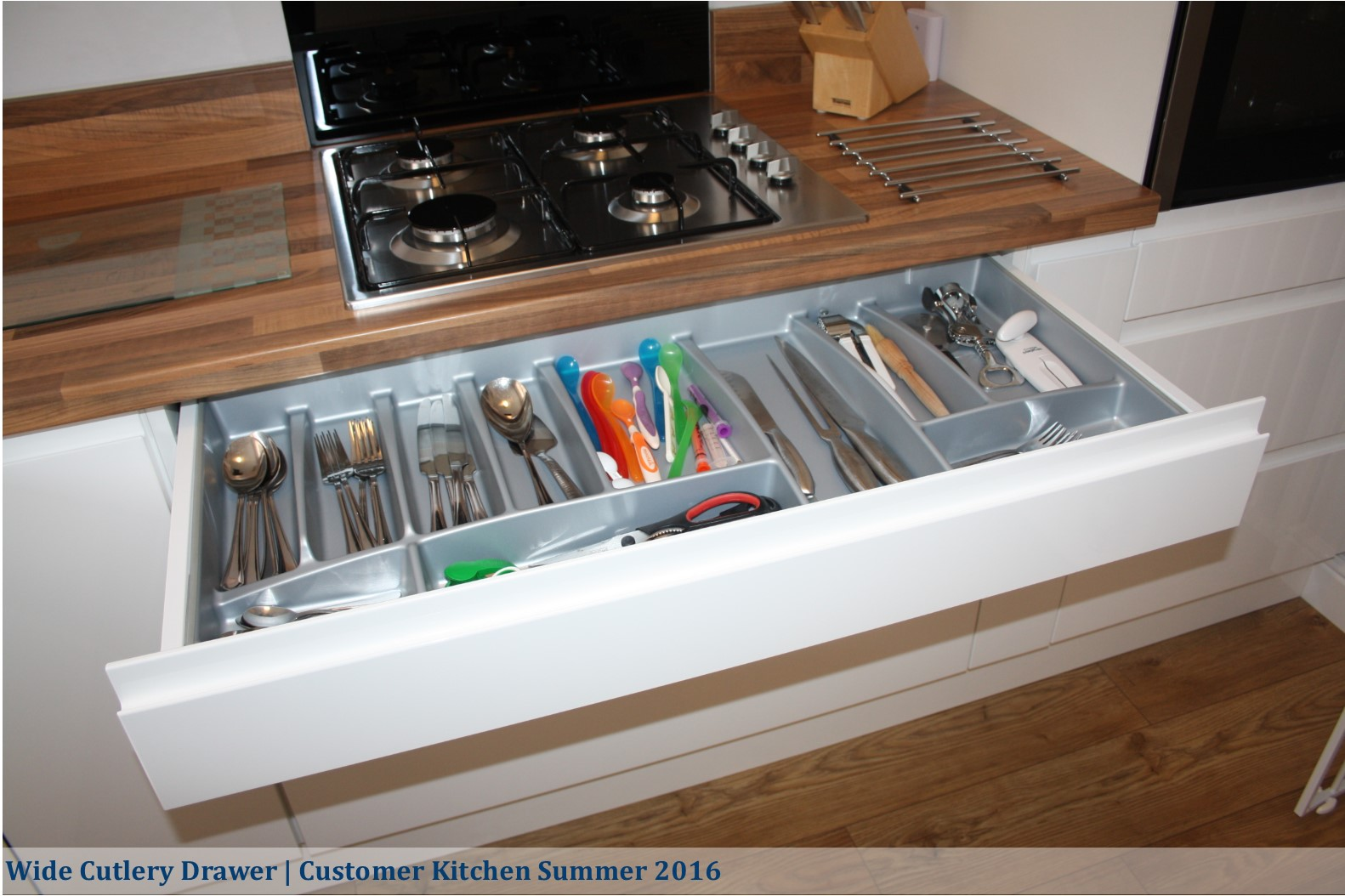 strada white wide cutlery drawer