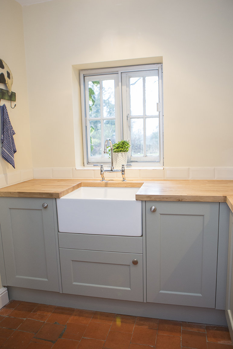 image of white butler sink