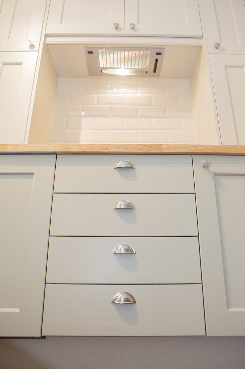image of grey kitchen units and white cupboards
