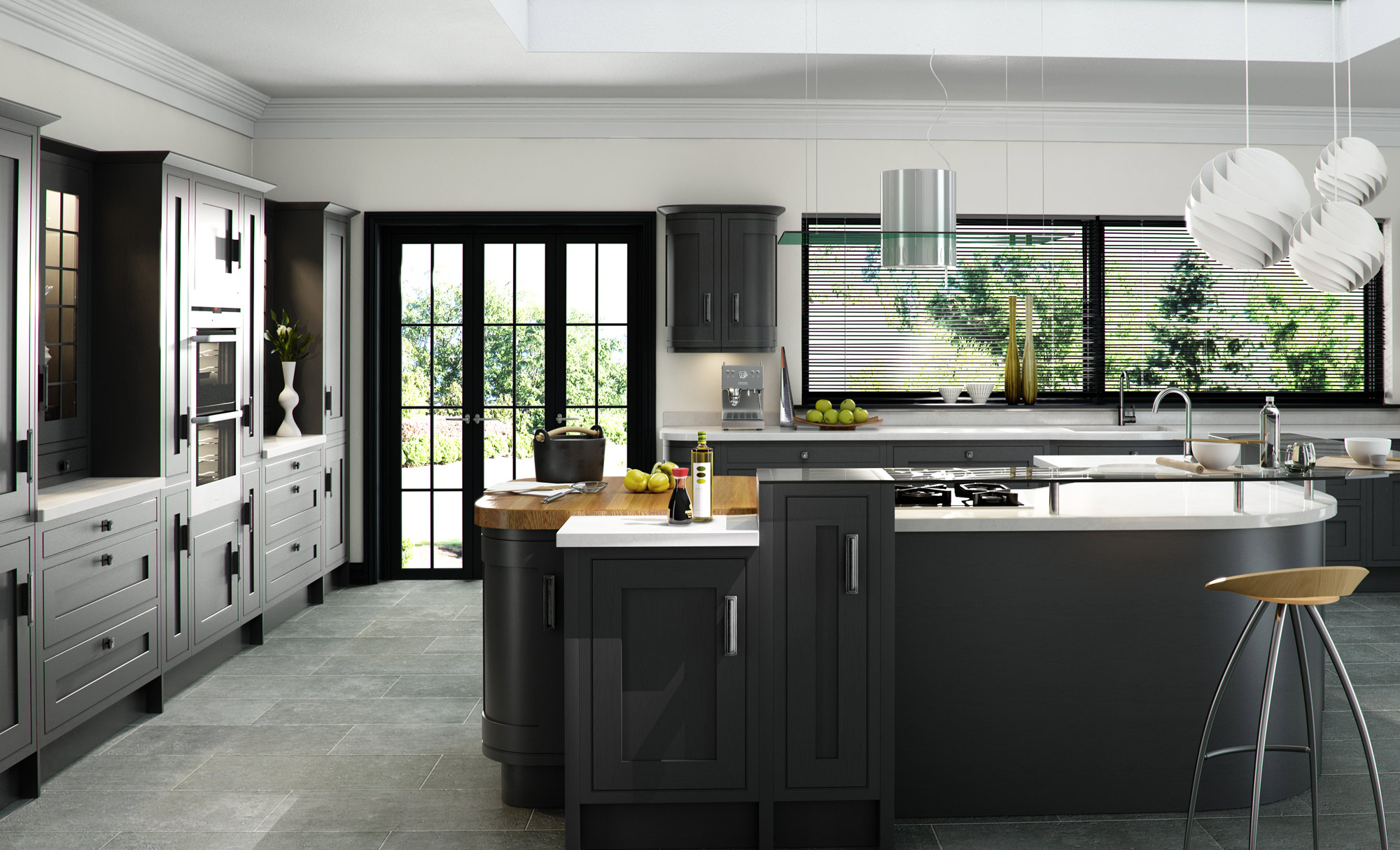 Iona Kitchen with island in Painted Graphite