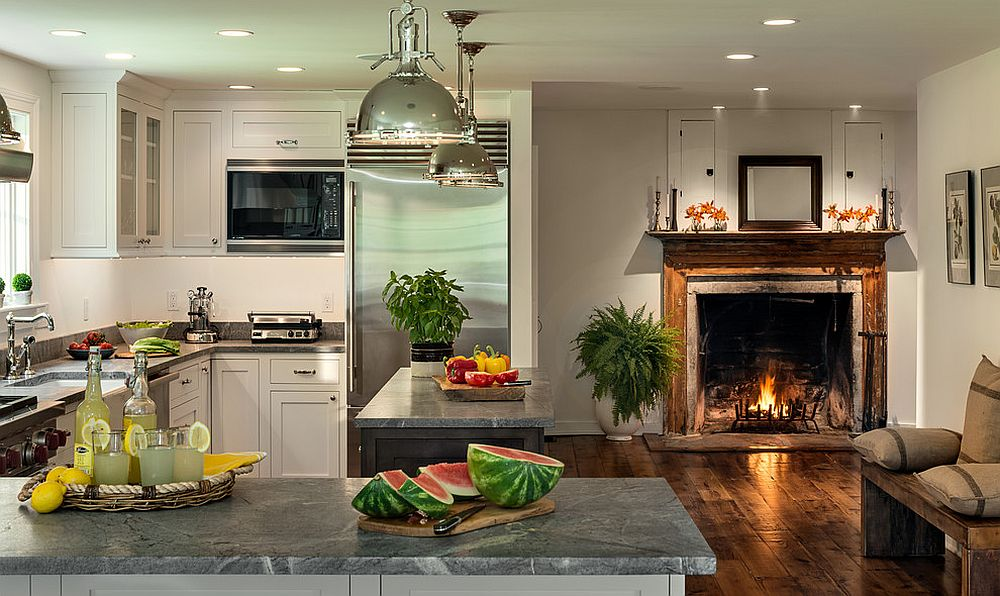 Farmhouse Kitchen With Fireplace - Saturn Interiors