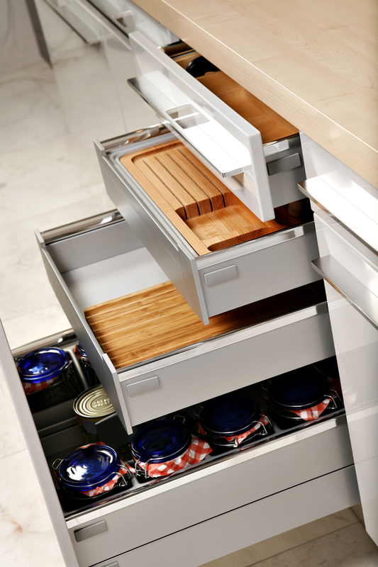 image of 4 kitchen draws opened to form steps
