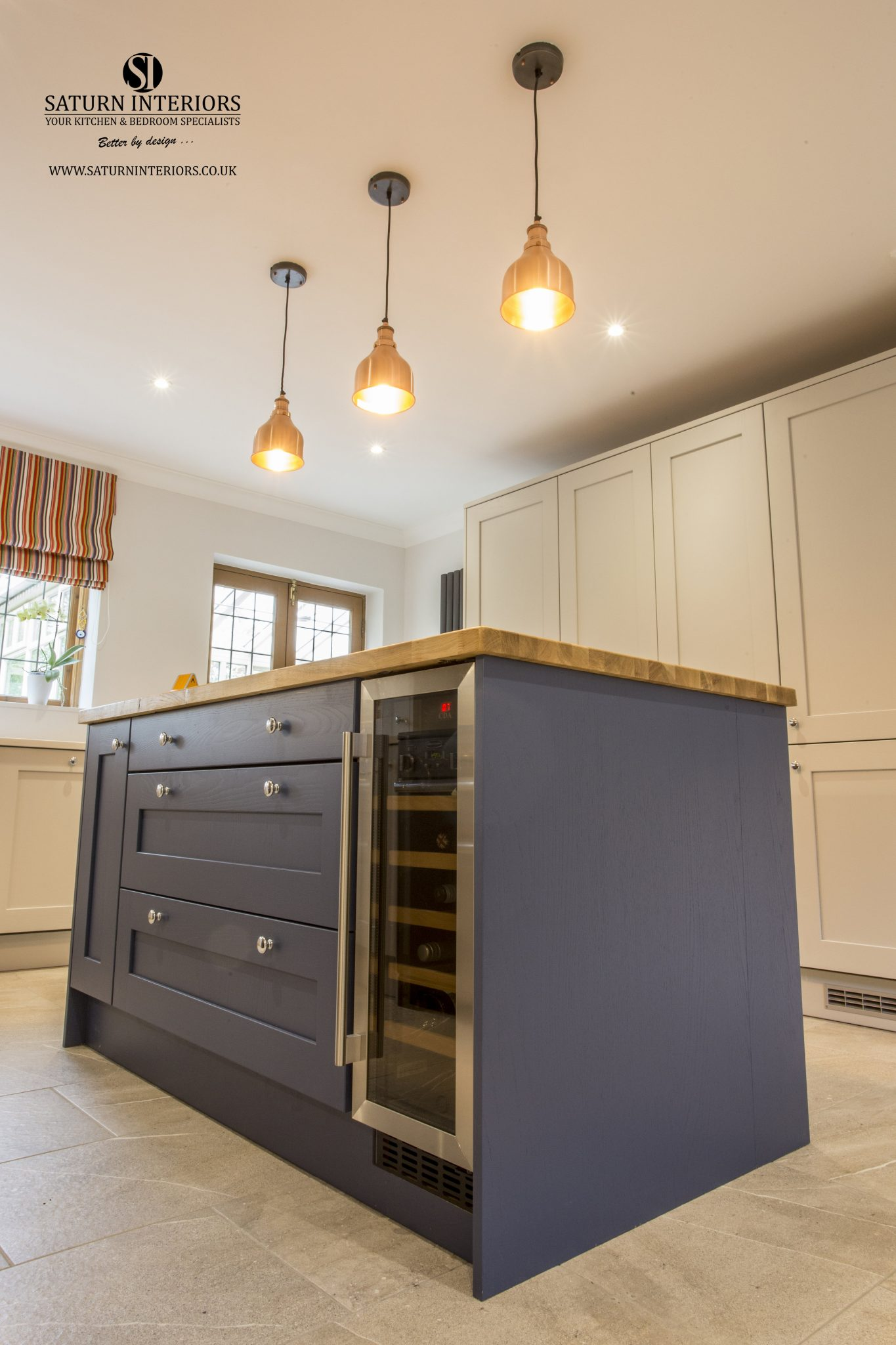 Wakefield Kitchen in Light Grey and Parisian Blue