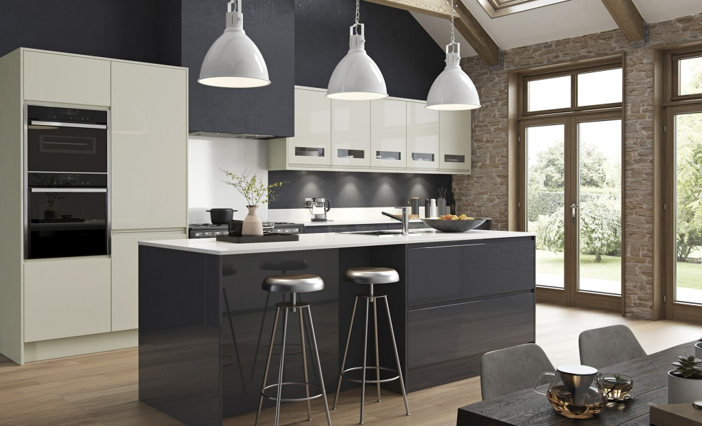 Strada Gloss Porcelain and Graphite Kitchen