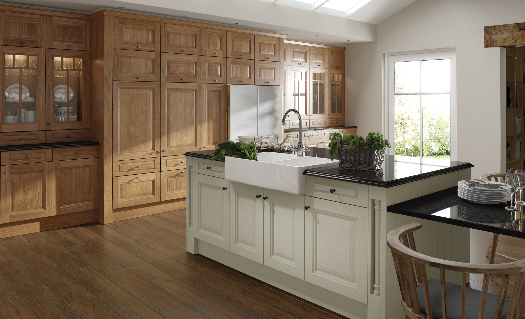 Country Classic Traditional Jefferson Kitchen in Ivory