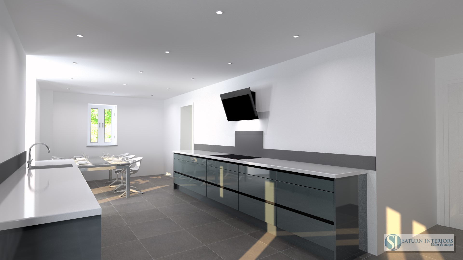 image of grey kitchen units with white worktops and grey tile floor