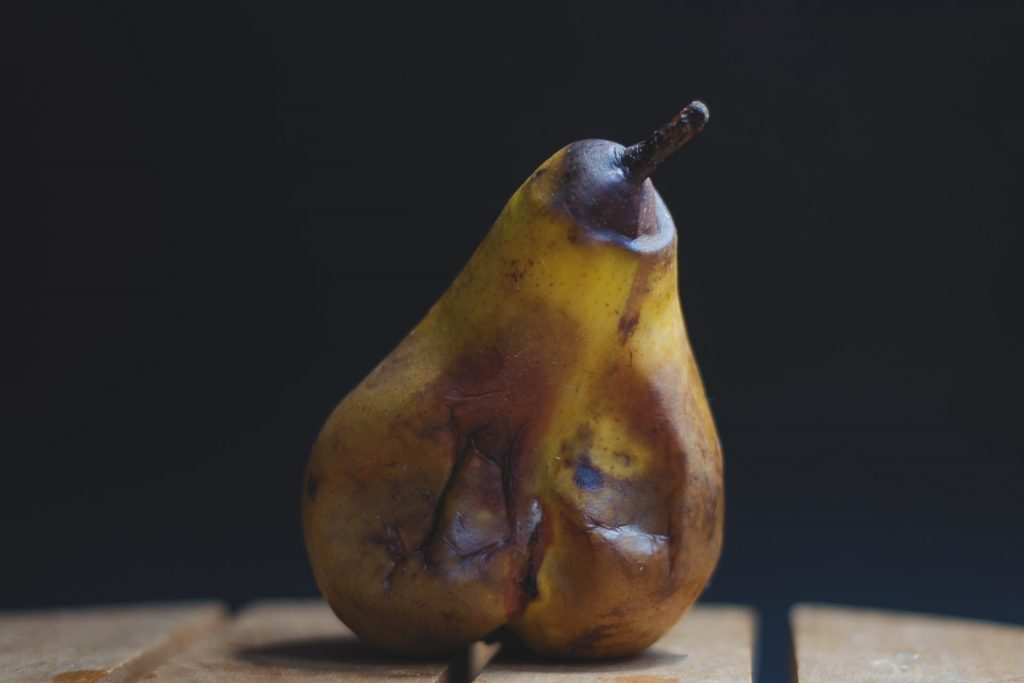 Composting is a great way to go green in your kitchen; food scraps like rotten pears and other fruits can be composted.